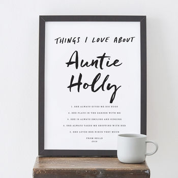 Personalised Things I Love About Auntie Print