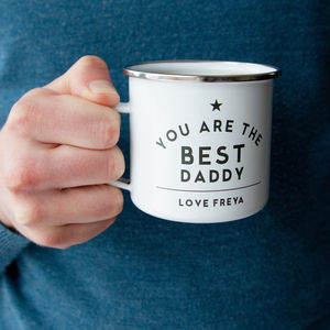 Daddy Personalised Enamel Mug - gifts for fathers