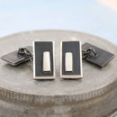 black and silver geometric cufflinks