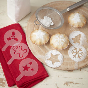 Assorted Christmas Themed Mince Pie Stencils
