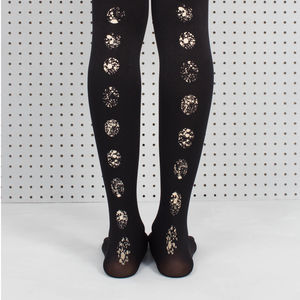 Black Splatter Circle Printed Tights - socks & tights