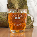 Engraved Glass Tankard For The Groom