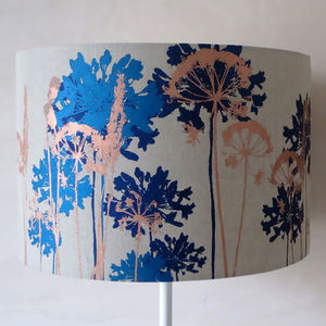 Floral Printed Lampshade Petrol Blue, Navy And Bronze