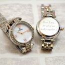 Personalised Ladies Silver And Diamante Wrist Watch