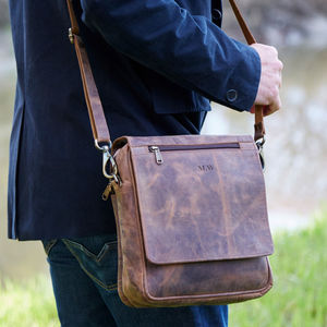 Personalised Buffalo Leather Portrait Messenger Bag
