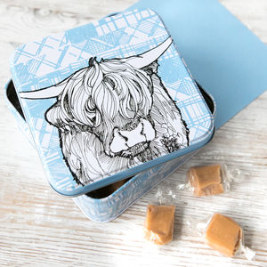 Scottish 'Highland Cow' Fudge Tin - storage & organisers