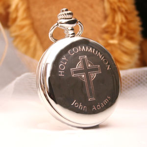 Engraved Pocket Watch With Holy Communion Design - watches