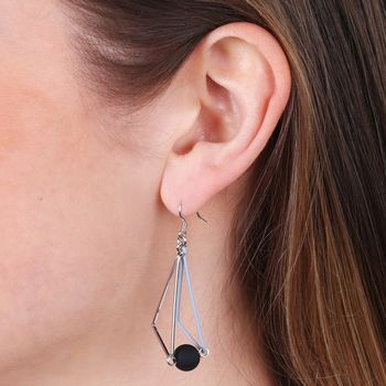 Matt Triangle And Ball Drop Earrings