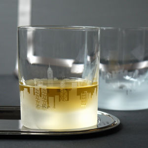 Pair Of Glass Hong Kong Skyline Tumblers