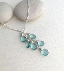 Aquamarine Quartz Lariat Necklace - birthstone jewellery gifts