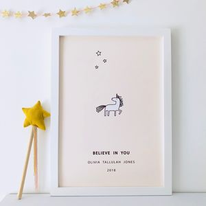 'Believe In You' Personalised Unicorn Print