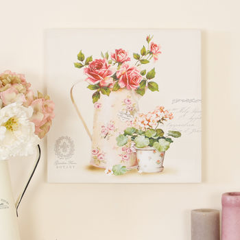 Vintage Botanical Country Garden Roses Print Canvas