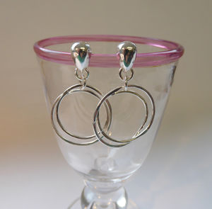 Silver Double Hoop And Pear Shape Hoop Earrings