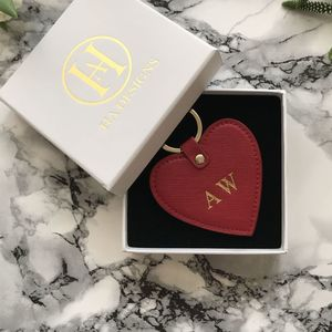 Personalised Saffiano Heart Keyring