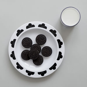 Happy Clouds Plastic Plate Black - children's tableware