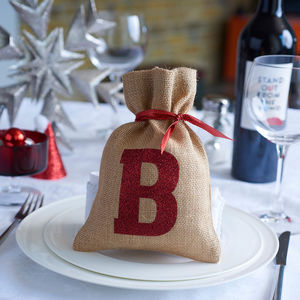 Mini Christmas Sack With Glitter Initial - christmas dining