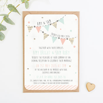 Bunting And Spots Gem Evening Invite