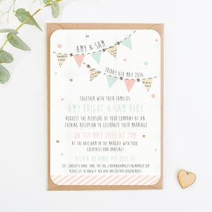 Bunting And Spots Gem Evening Invite - invitations