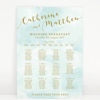 Mint Romance Wedding Table Plan
