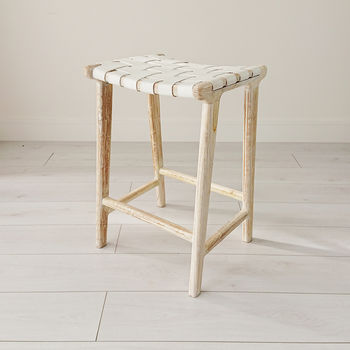 White Wash Teak And Leather Stool