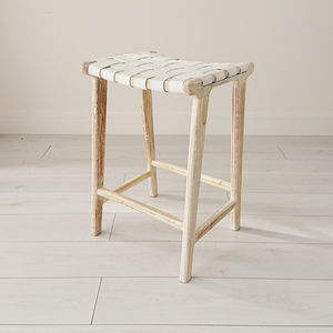 White Wash Teak And Leather Stool - view all new