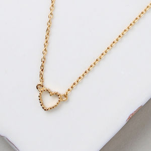 Gold Plated Tiny Open Heart Necklace - necklaces & pendants