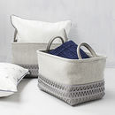 Grey Herringbone Storage Bag Set