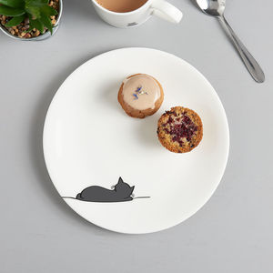 Sleeping Cat Side Plate, Fine Bone China