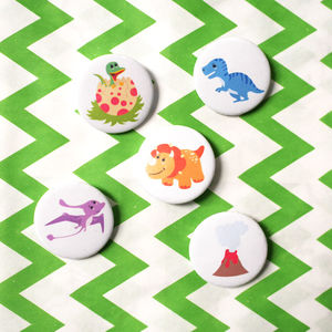 Set Of Five Dinosaur Badges