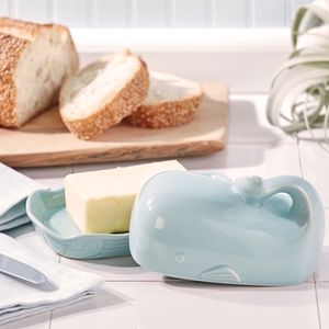 Pale Blue Whale Butter Dish - butter dishes