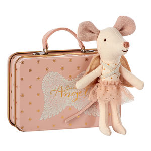 Angel Guardian Mouse In Suitcase - soft toys & dolls