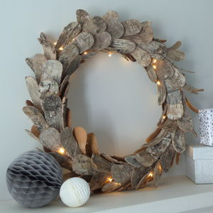 Birch Bark Fairy Light Wreath - room decorations