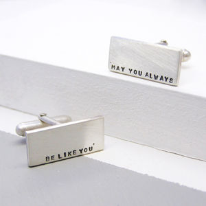 Silver Personalised Mens Cuff Links - cufflinks