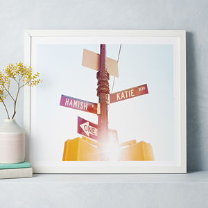 Personalised Couples Names American Street Sign Print - engagement gifts