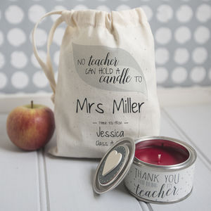 Personalised 'Thank You Teacher' Candle In Gift Bag - dining room