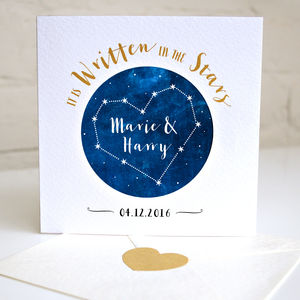 Personalised Wedding Star Constellation Card - wedding, engagement & anniversary cards