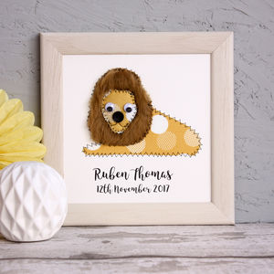Personalised Lion Embroidered Framed Artwork