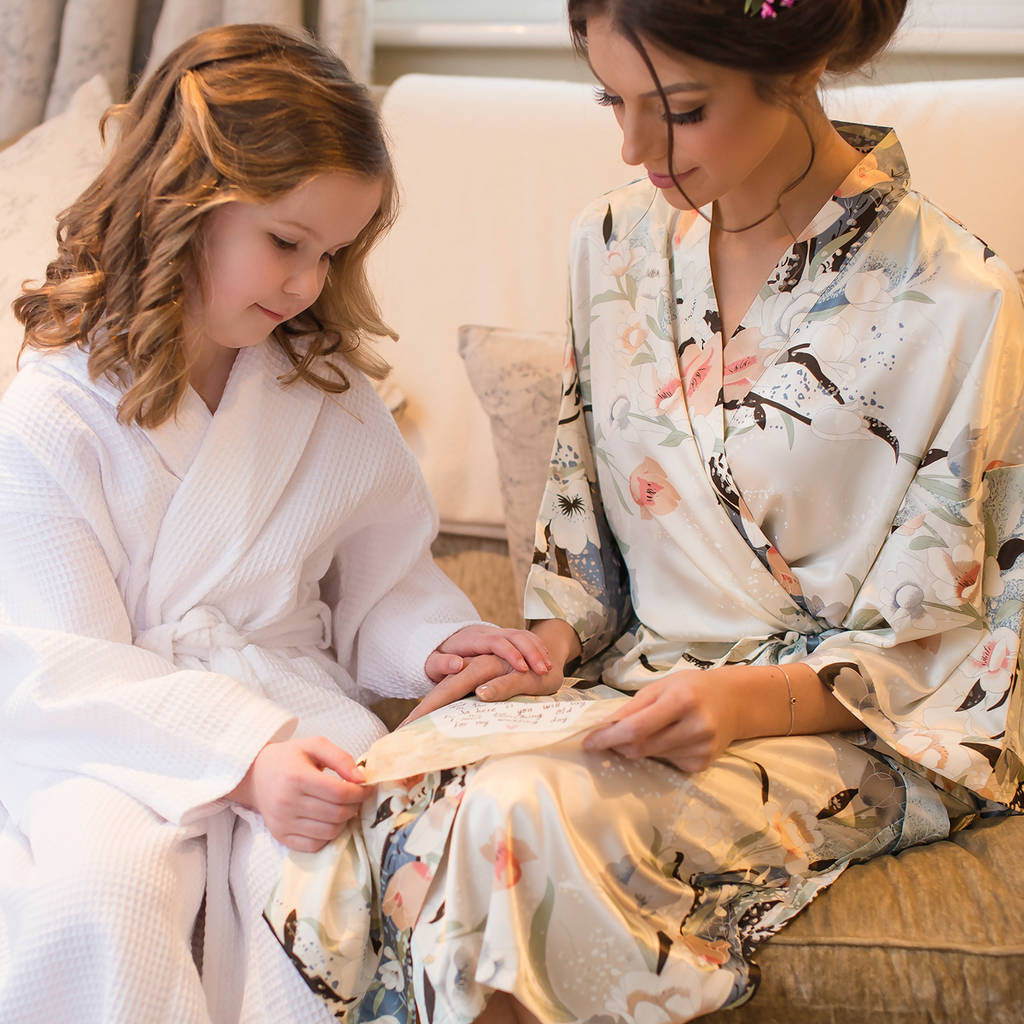 personalised bridal blossom dressing gown by mini lunn ...