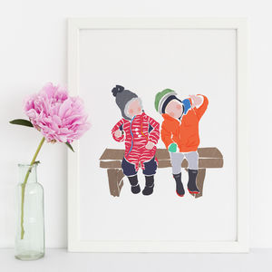 Family Custom Portrait Illustration