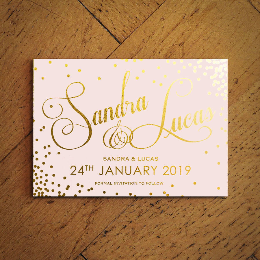 classic script foiled wedding invitations by feel good wedding