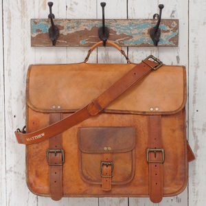 Personalised Large Brown Leather Briefcase Laptop Bag