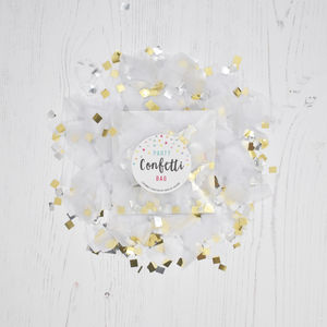 White Metallic Party Confetti Bag - table decorations