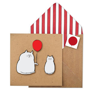 Cute Balloon Cats Personalised Blank Birthday Card