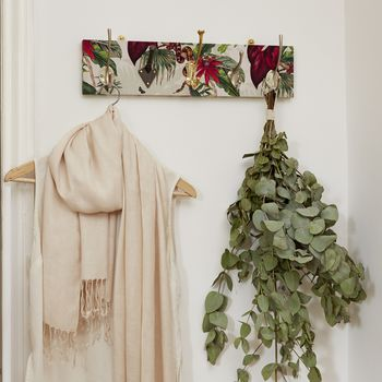 Botanical Print Mismatched Coat Rack With Five Hooks