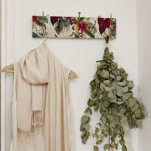 Botanical Print Mismatched Coat Rack With Five Hooks - hooks, pegs & clips