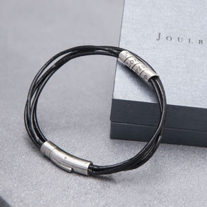 Personalised Black Soho Mens Scroll Bracelet