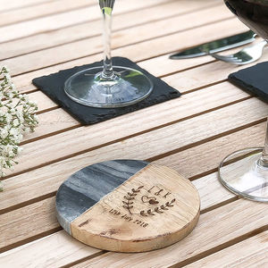 Personalised Marble And Mango Wood Coaster