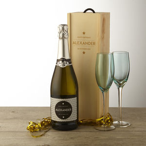 Personalised Birthday Prosecco With Wooden Gift Box - prosecco gifts