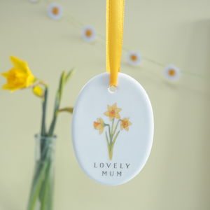 Mothers Day Daffodil Personalised Decoration
