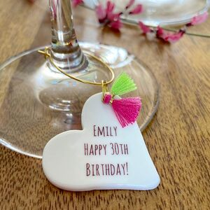 30th Birthday Personalised Glass Charm